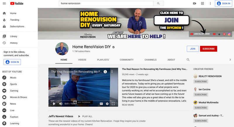 Jeff Thorman Home RenoVision DIY Youtube channel